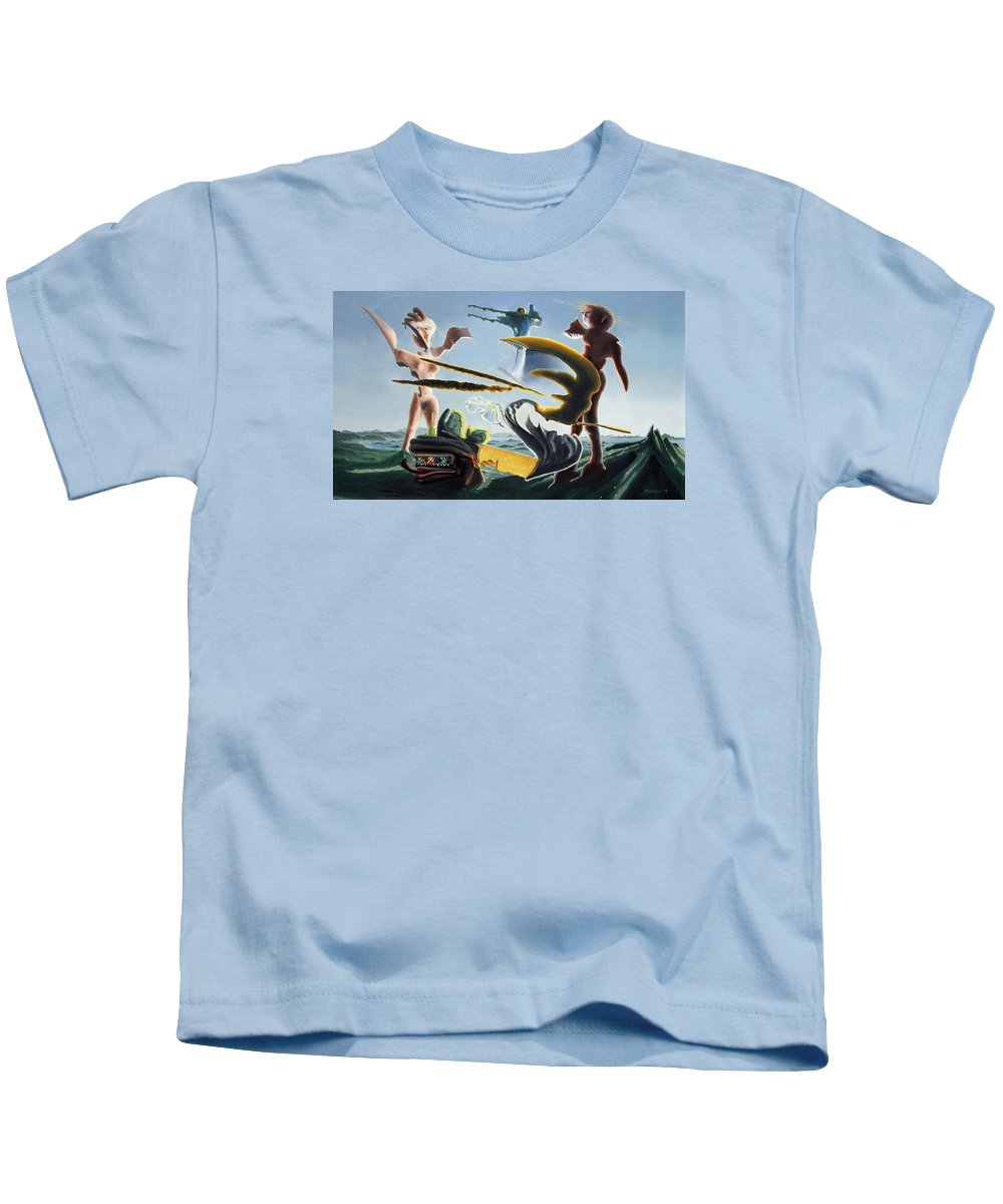 Landscape Kids T-Shirt featuring the painting Civilization Found Intact by Dave Martsolf
