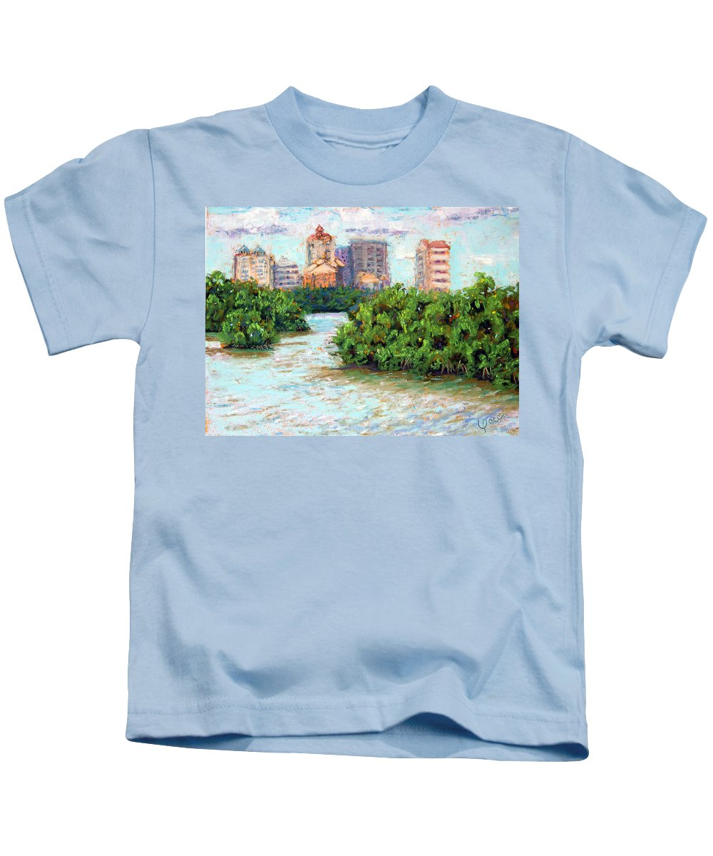 Clam Pass Kids T-Shirt featuring the painting Clam Pass I by Laurie Paci