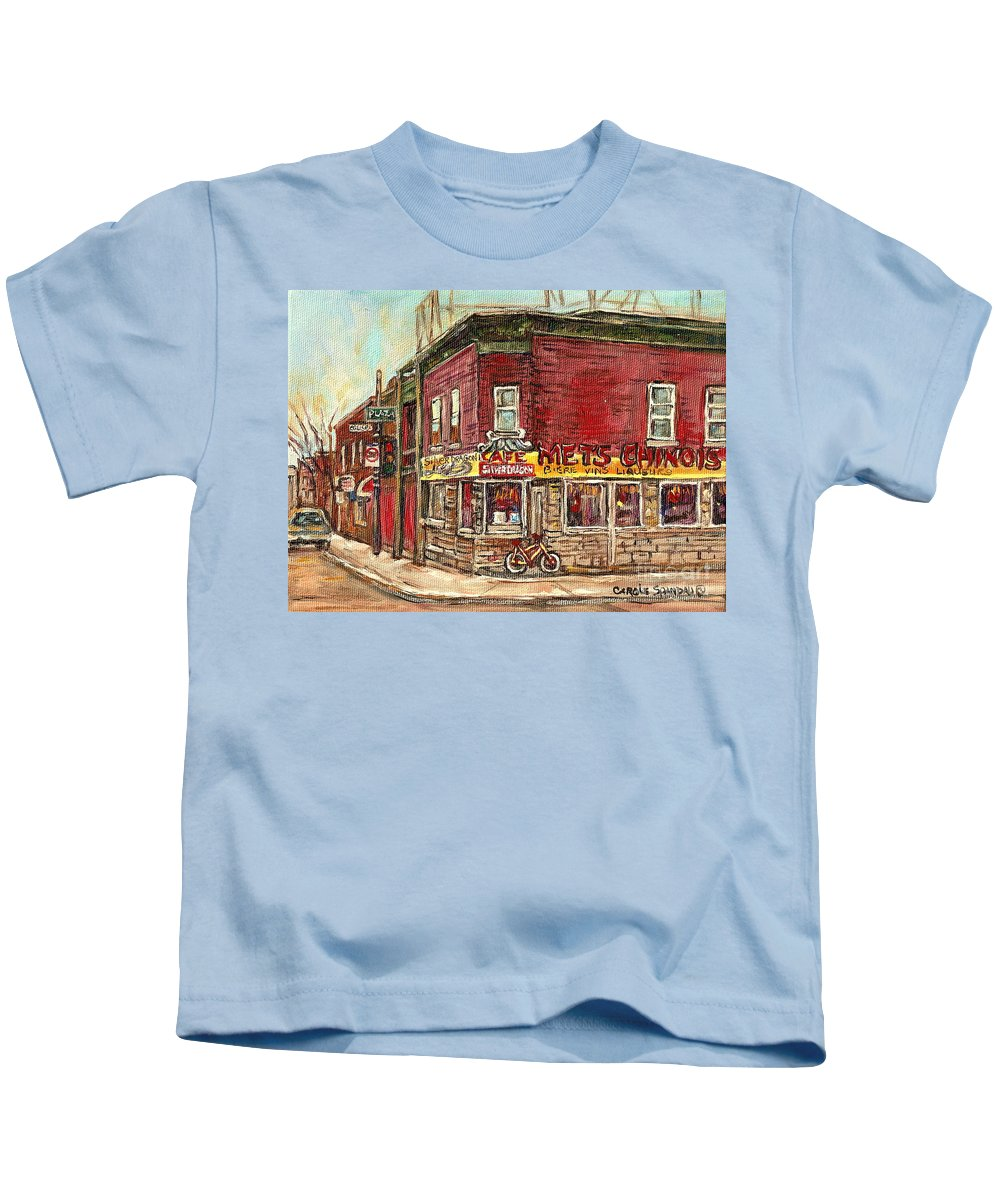 Silver Dragon Kids T-Shirt featuring the painting Classic Chinese Restaurant Montreal Memories Silver Dragon Canadian Paintings Carole Spandau     by Carole Spandau