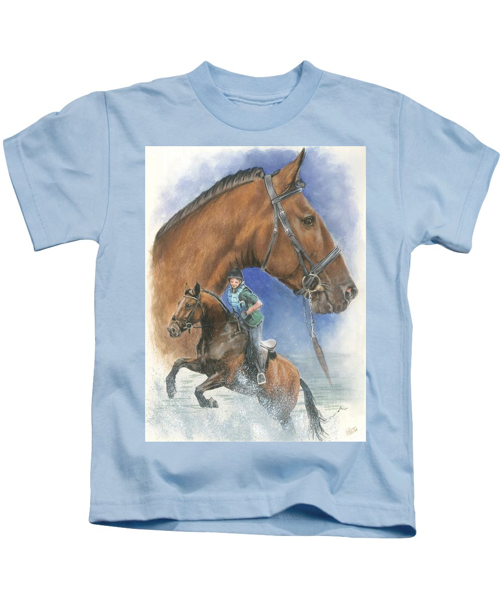 Hunter Jumper Kids T-Shirt featuring the mixed media Cleveland Bay by Barbara Keith