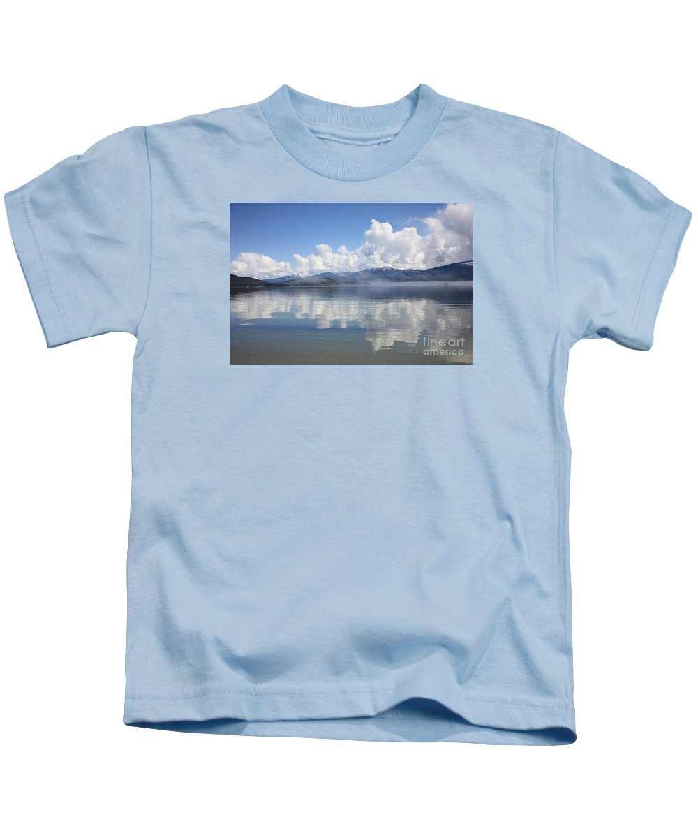 Clouds Kids T-Shirt featuring the photograph Cloud Reflection On Priest Lake by Carol Groenen