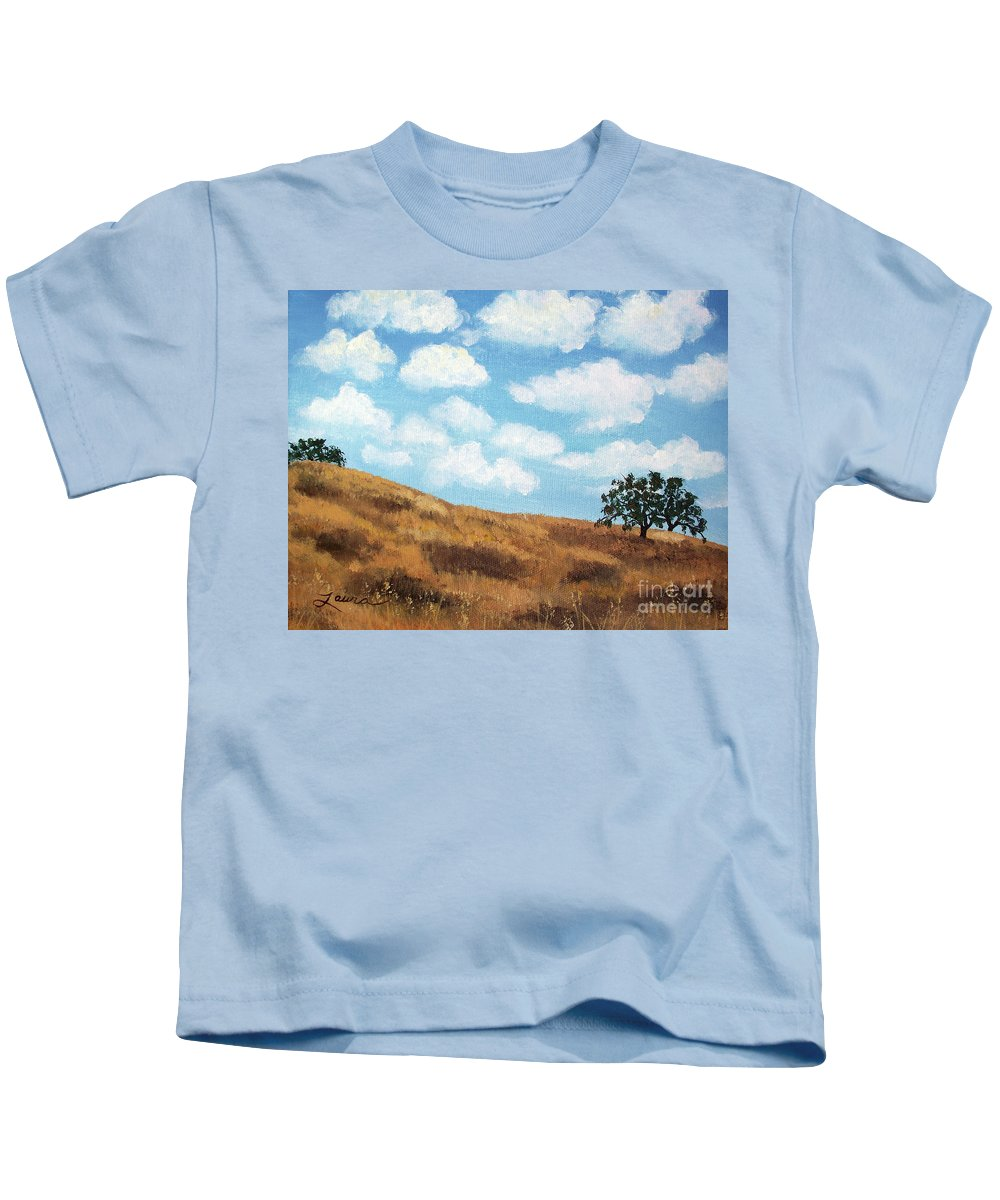Landscape Kids T-Shirt featuring the painting Cloud Shadows by Laura Iverson