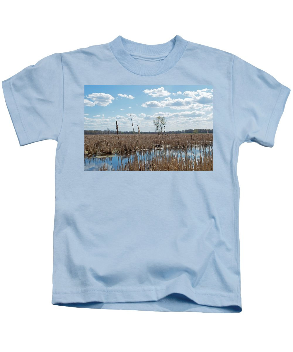 Wetland Kids T-Shirt featuring the photograph Clouds Of Cotton by Linda Kerkau