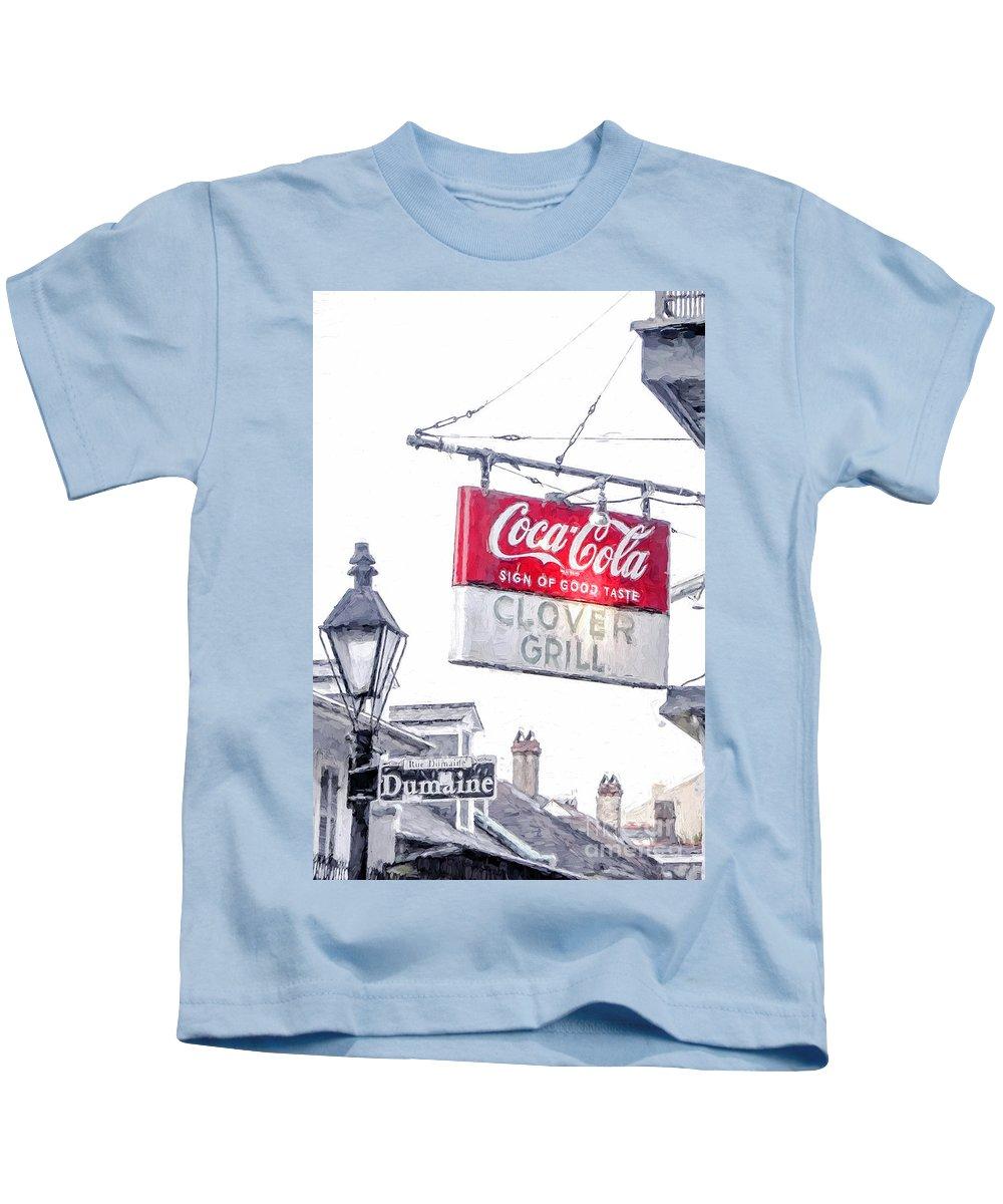 Clover Grill Coke Sign Kids T-Shirt featuring the photograph Clover Grill Coke Sign by Nancy Forehand