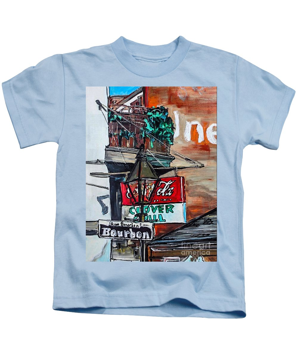 Clover Grill Kids T-Shirt featuring the painting Clover Grill - New Orleans by Paula Baker
