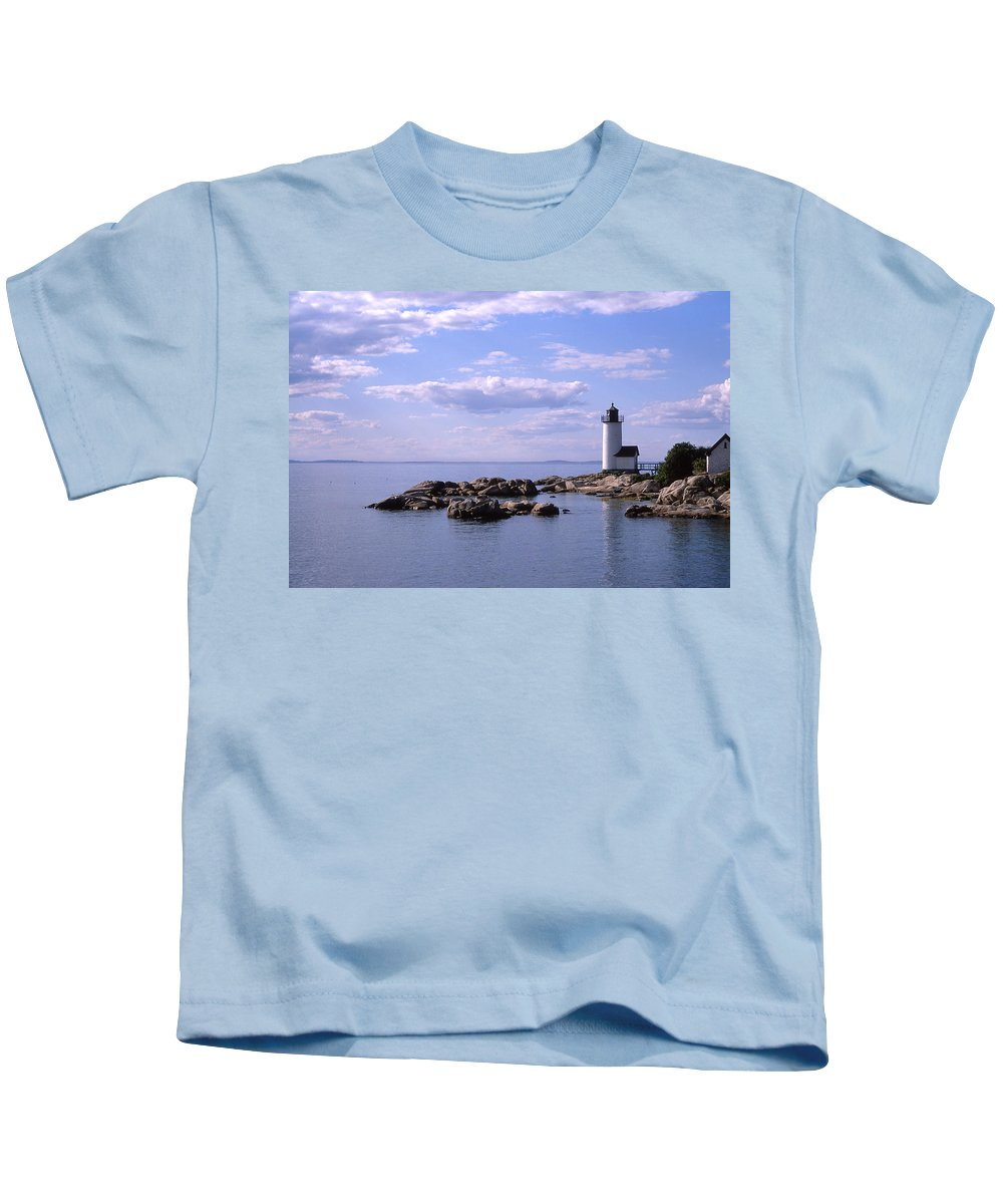 Landscape Lighthouse New England Nautical Kids T-Shirt featuring the photograph Cnrf0901 by Henry Butz