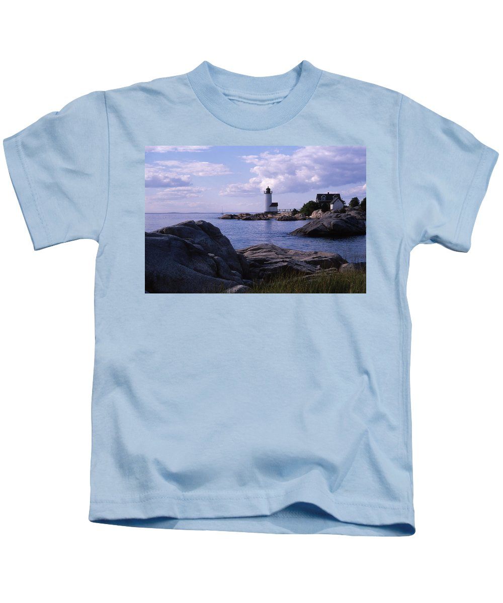 Landscape Lighthouse New England Annisquam Harbor Light Gloucester Kids T-Shirt featuring the photograph Cnrf0903 by Henry Butz