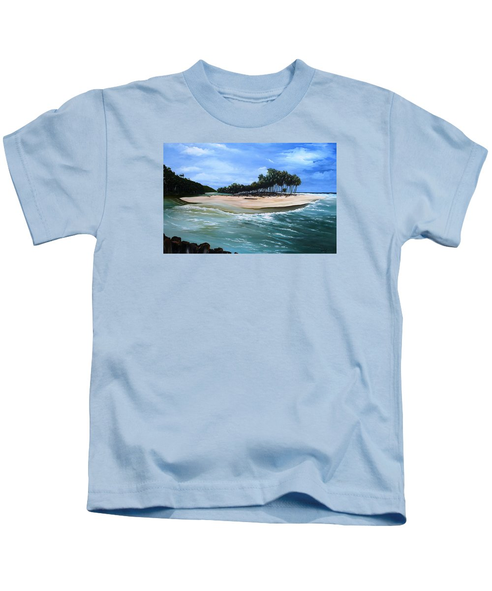 Ocean Paintings Sea Scape Paintings  Beach Paintings Palm Trees Paintings Water Paintings River Paintings  Caribbean Paintings  Tropical Paintings Trinidad And Tobago Paintings Beach Paintings Kids T-Shirt featuring the painting Cocos Bay Trinidad by Karin Dawn Kelshall- Best