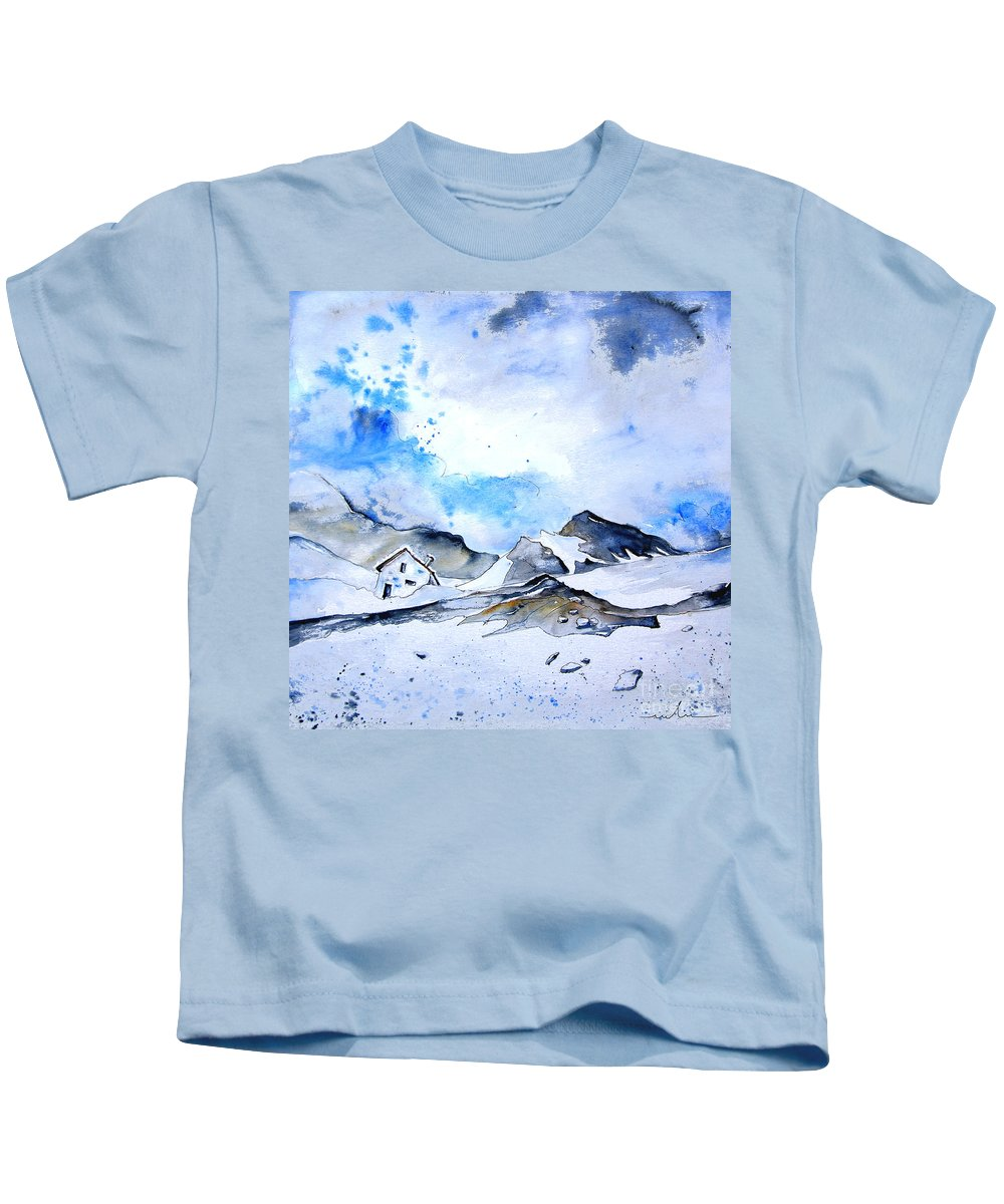 Montains Kids T-Shirt featuring the painting Col Du Pourtalet In The Pyrenees 01 by Miki De Goodaboom