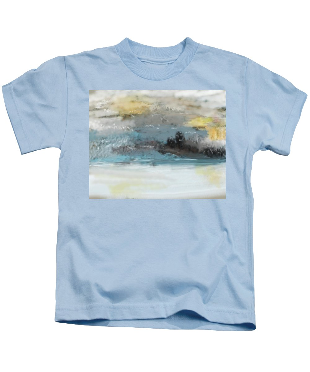 Landscape Kids T-Shirt featuring the digital art Cold Day Lakeside Abstract Landscape by David Lane