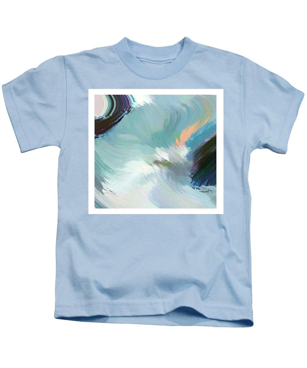 Landscape Digital Art Kids T-Shirt featuring the digital art Color Falls by Anil Nene