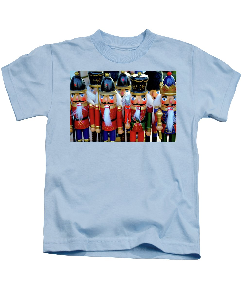 Christmas Kids T-Shirt featuring the photograph Colorful Christmas Nutcrackers by Perl Photography