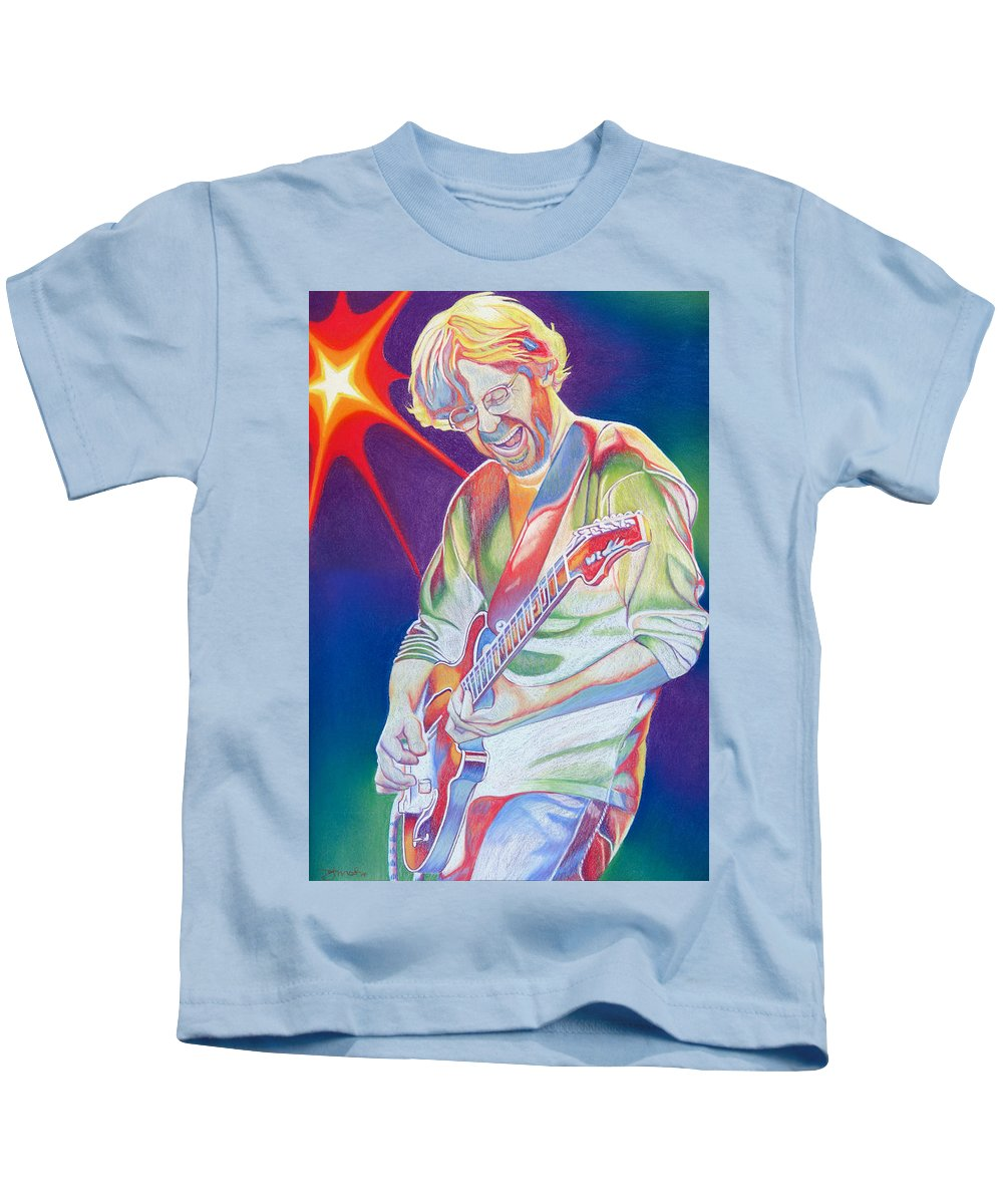 Phish Kids T-Shirt featuring the drawing Colorful Trey Anastasio by Joshua Morton