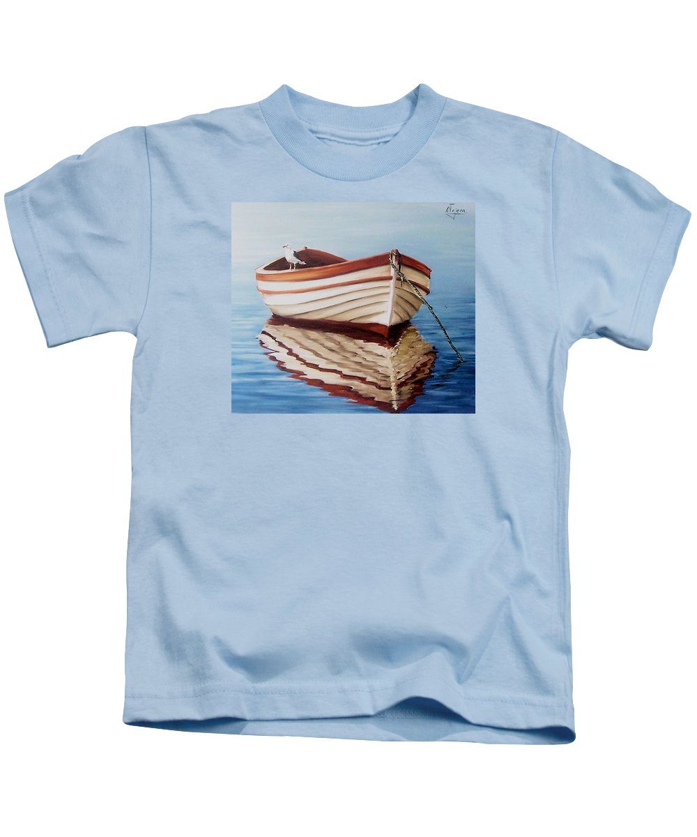 Sea Seascape Boat Reflections Water Ocean Seagull Bird Kids T-Shirt featuring the painting Contemplative by Natalia Tejera