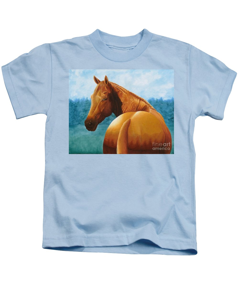 Oil Kids T-Shirt featuring the painting Copper Bottom - Quarter Horse by Pauline Sharp
