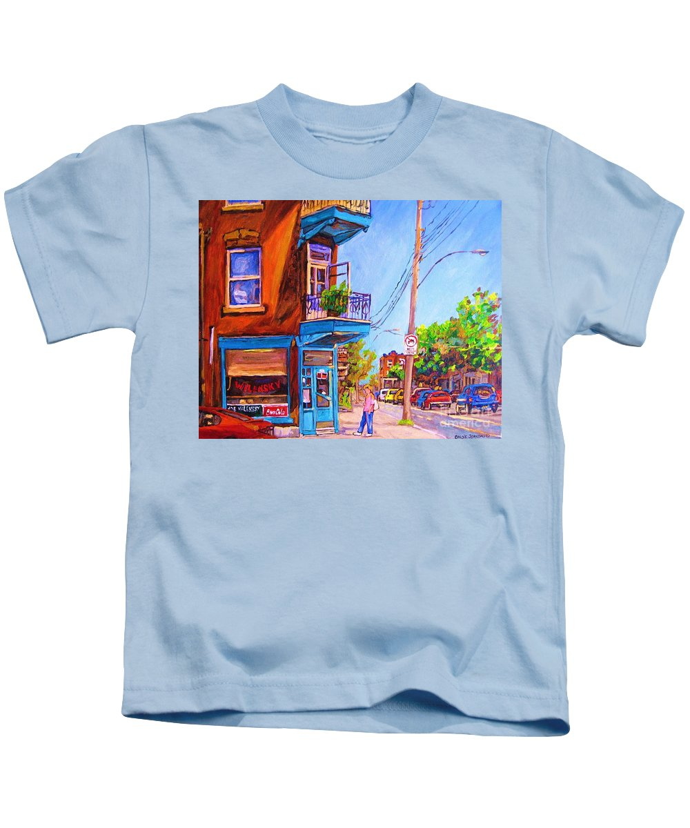 Wilenskys Corner Fairmount And Clark Kids T-Shirt featuring the painting Corner Deli Lunch Counter by Carole Spandau