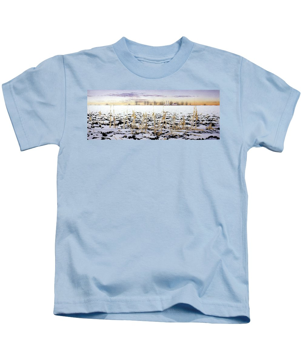 Winter Kids T-Shirt featuring the painting Cornfield In Winter by Conrad Mieschke