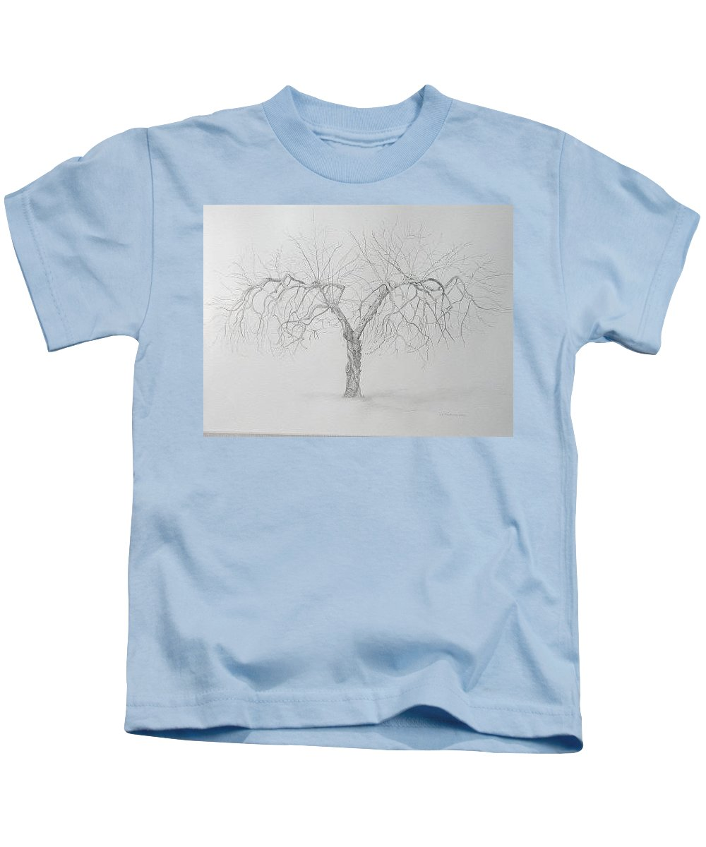 Cortland Apple Tree Kids T-Shirt featuring the drawing Cortland Apple by Leah Tomaino