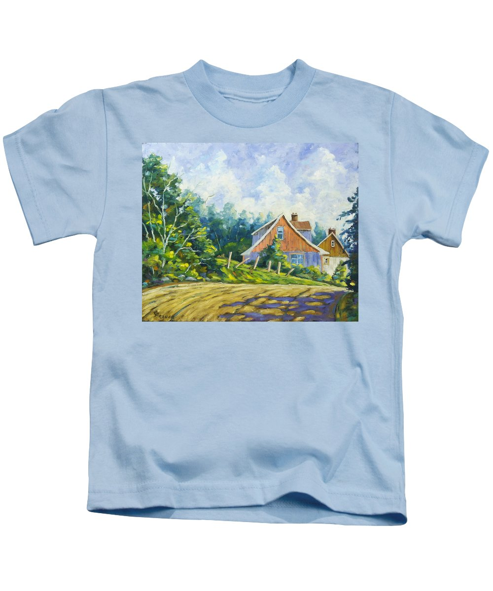 Art Kids T-Shirt featuring the painting Cote Ste Anne De Beaupre by Richard T Pranke
