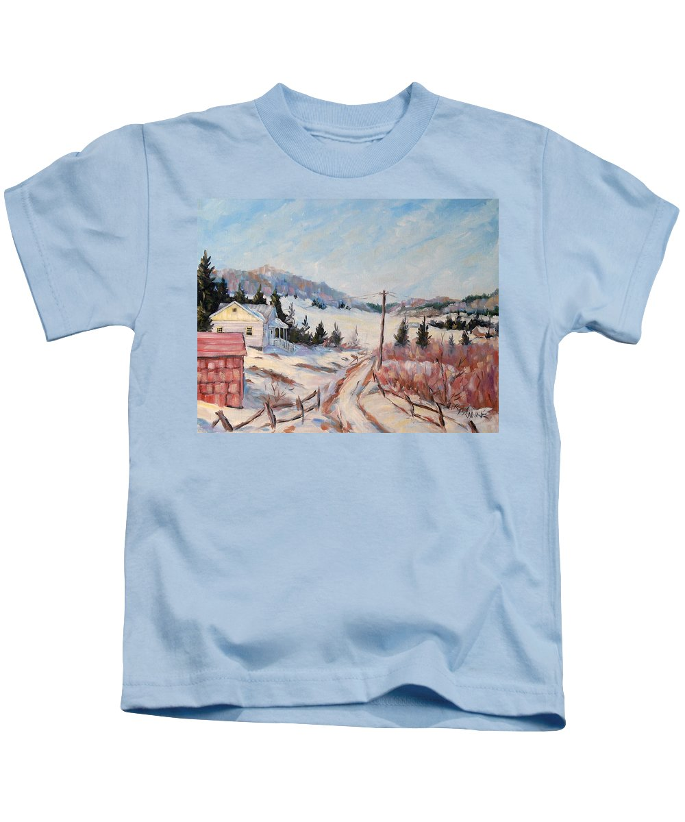 Road Kids T-Shirt featuring the painting Cottage Road by Richard T Pranke