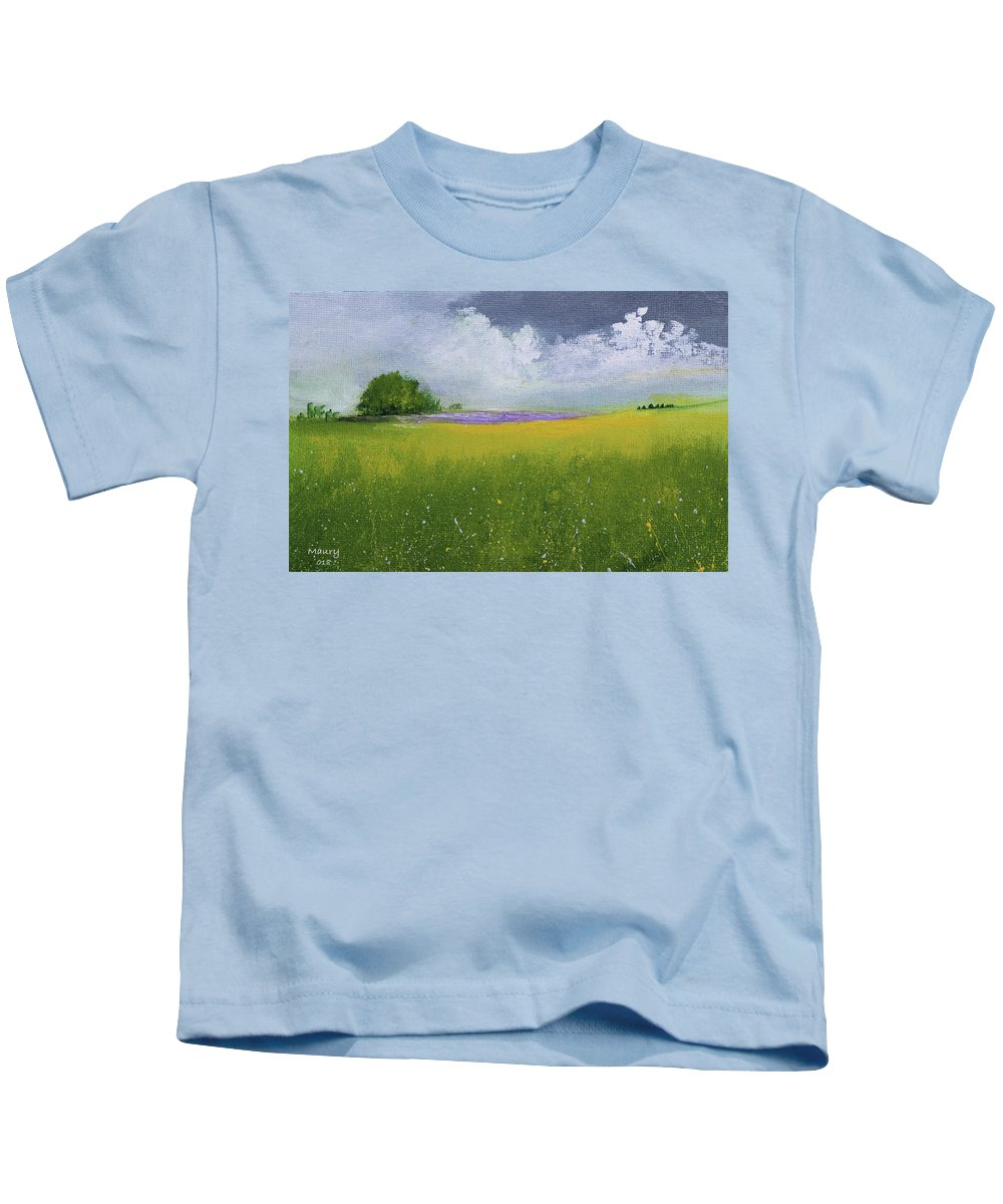 Kids T-Shirt featuring the painting Country Landscape by Alicia Maury