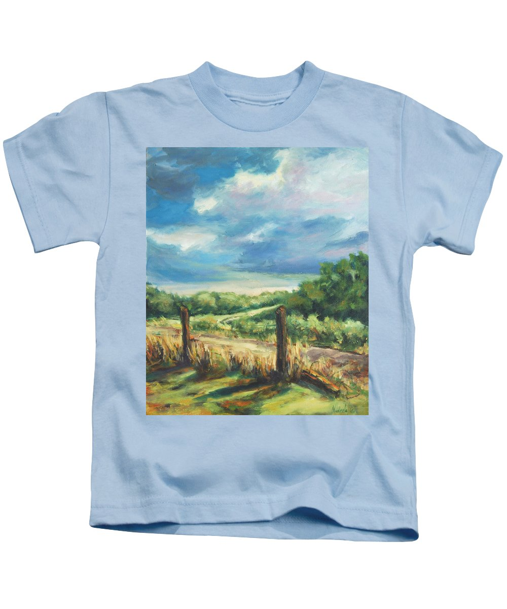 Clouds Kids T-Shirt featuring the painting Country Road by Rick Nederlof