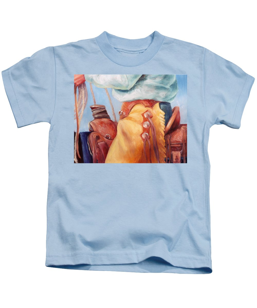 Cowboy Kids T-Shirt featuring the painting Cowboy Armor Western Cowboy Oil Painting by Kim Corpany