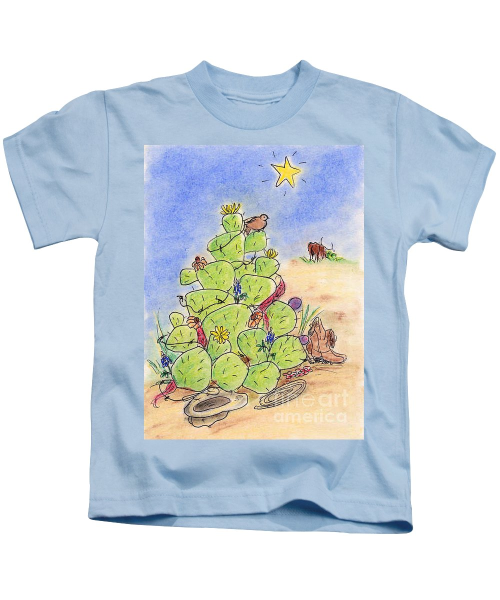 Texas Kids T-Shirt featuring the drawing Cowboy Christmas by Vonda Lawson-Rosa