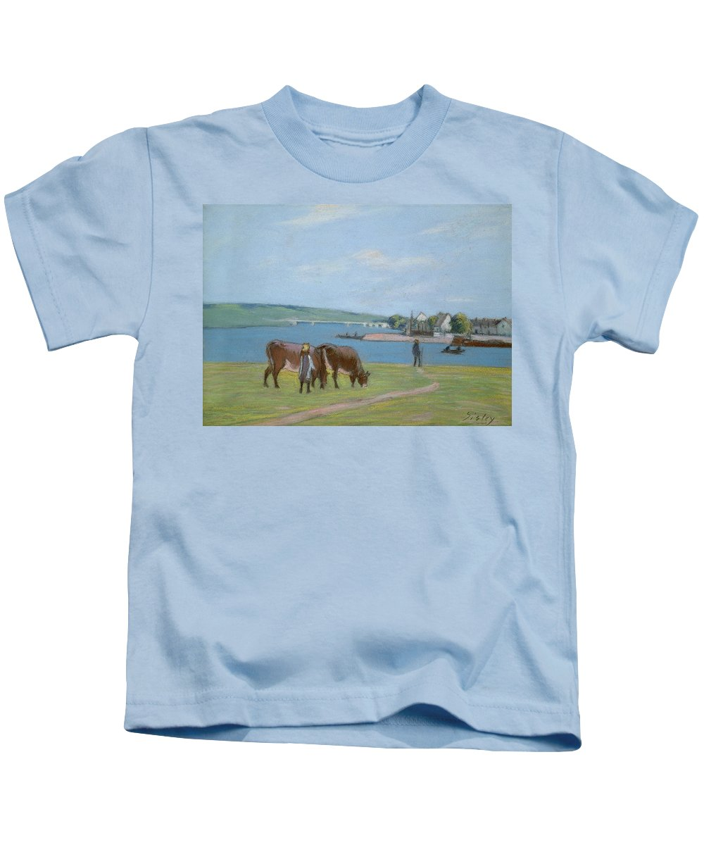 Impressionism Kids T-Shirt featuring the pastel Cows On The Banks Of The Seine At Saint Mammes by Alfred Sisley