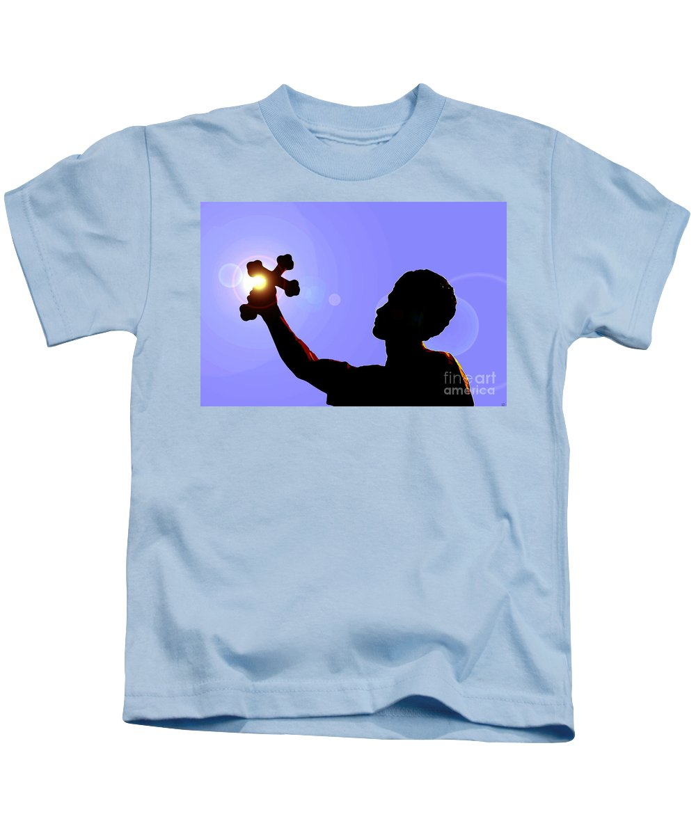 Cross Kids T-Shirt featuring the painting Cross And Sun by David Lee Thompson