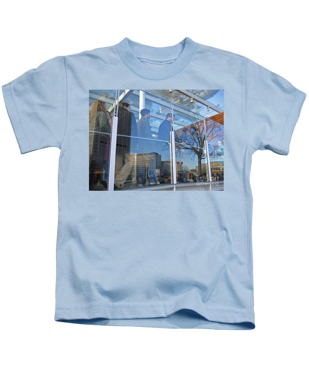 London Kids T-Shirt featuring the photograph Crowd Queuing Up by Ann Horn