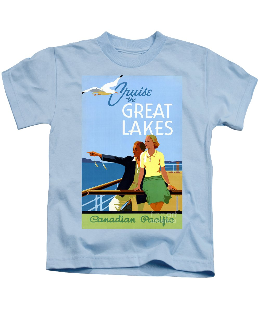Vintage Kids T-Shirt featuring the painting Cruise The Great Lakes Vintage Travel Poster by Vintage Treasure