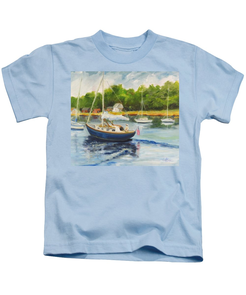 Seascape Kids T-Shirt featuring the painting Cruising The Cape by Jean Costa