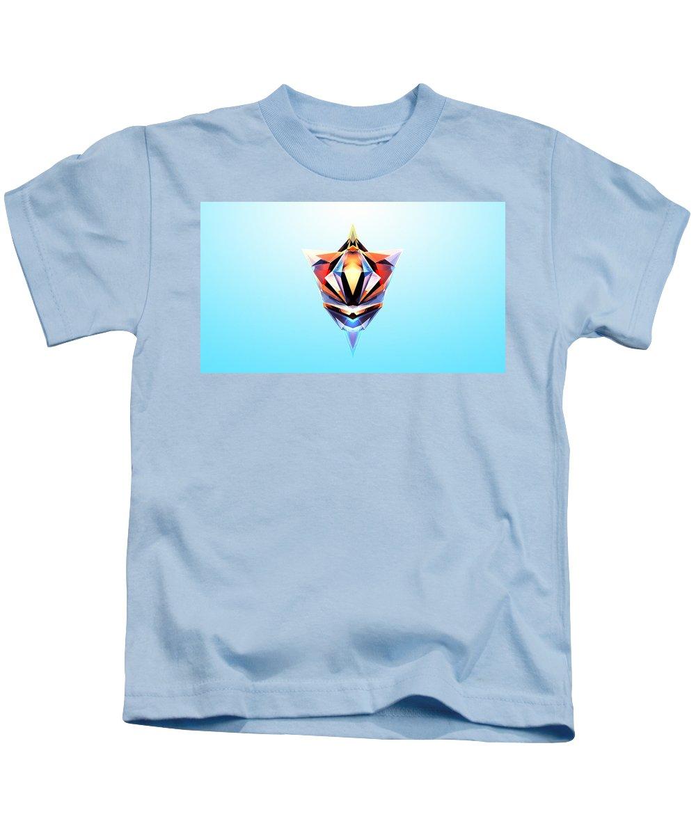 Low Polygon Kids T-Shirt featuring the digital art Crystal Shapes - 24 by Jovemini ART
