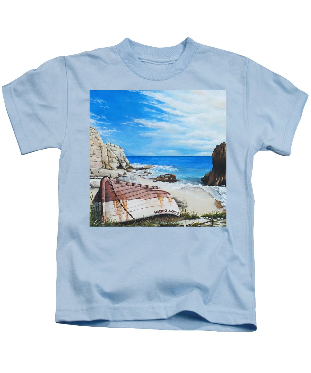 Sint Maarten Kids T-Shirt featuring the painting Cupecoy Dream by Cindy D Chinn