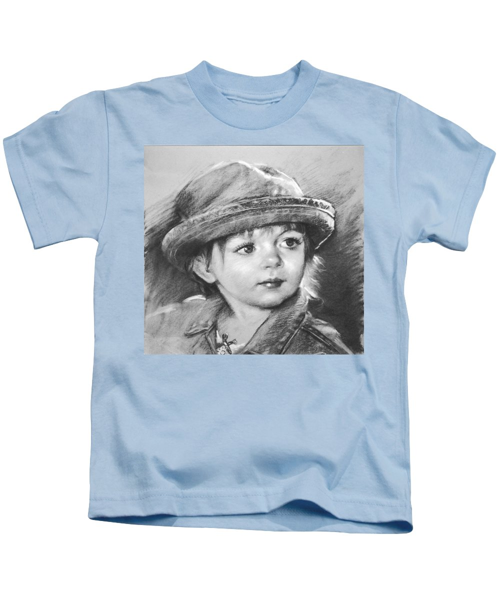 Portrait Kids T-Shirt featuring the drawing Curios by Ylli Haruni