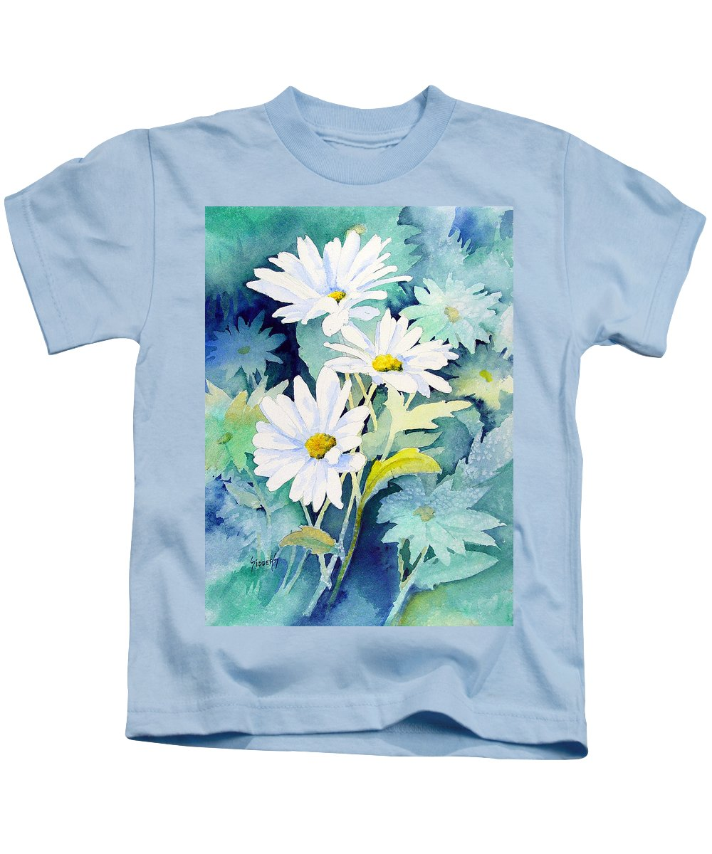 Flowers Kids T-Shirt featuring the painting Daisies by Sam Sidders