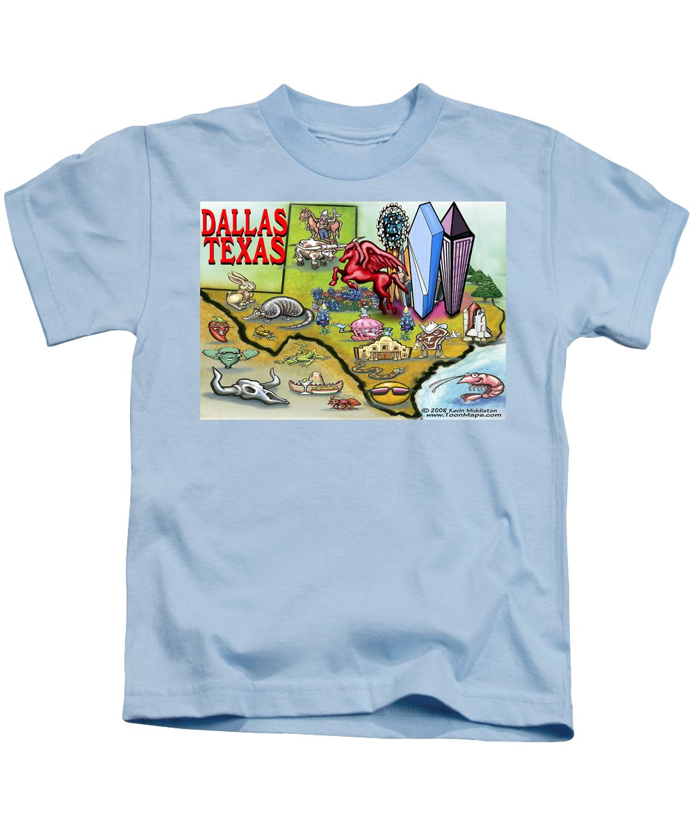Dallas Kids T-Shirt featuring the digital art Dallas Texas Cartoon Map by Kevin Middleton
