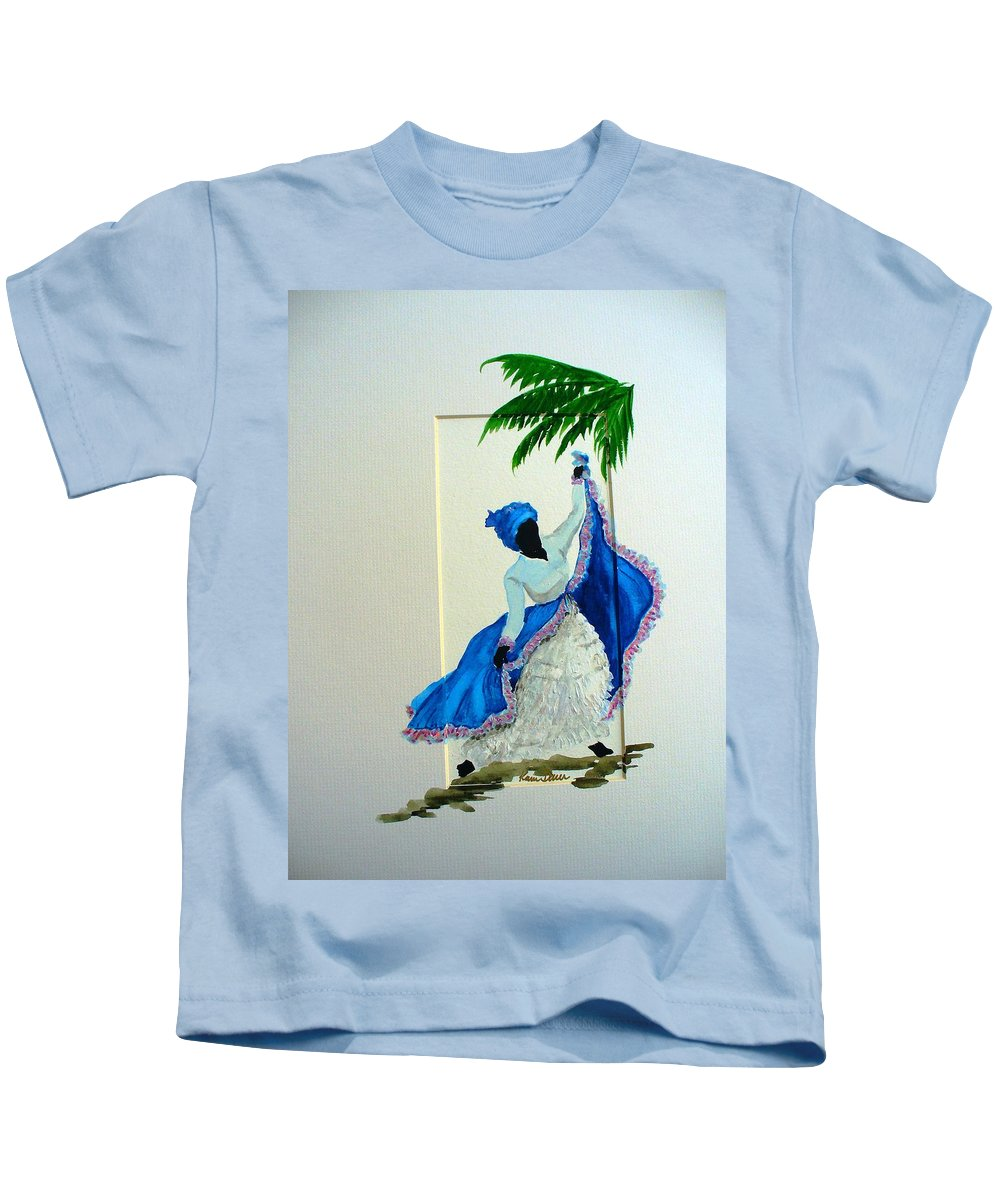 Folk Dance Caribbean Tropical Kids T-Shirt featuring the painting Dance De Pique by Karin Dawn Kelshall- Best