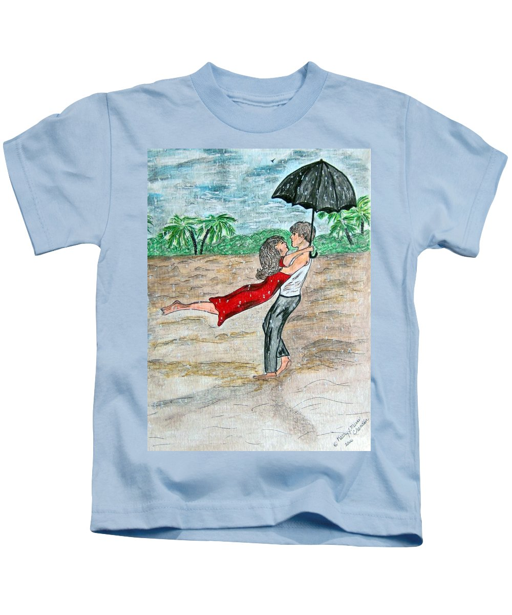 Dancing Kids T-Shirt featuring the painting Dancing In The Rain On The Beach by Kathy Marrs Chandler