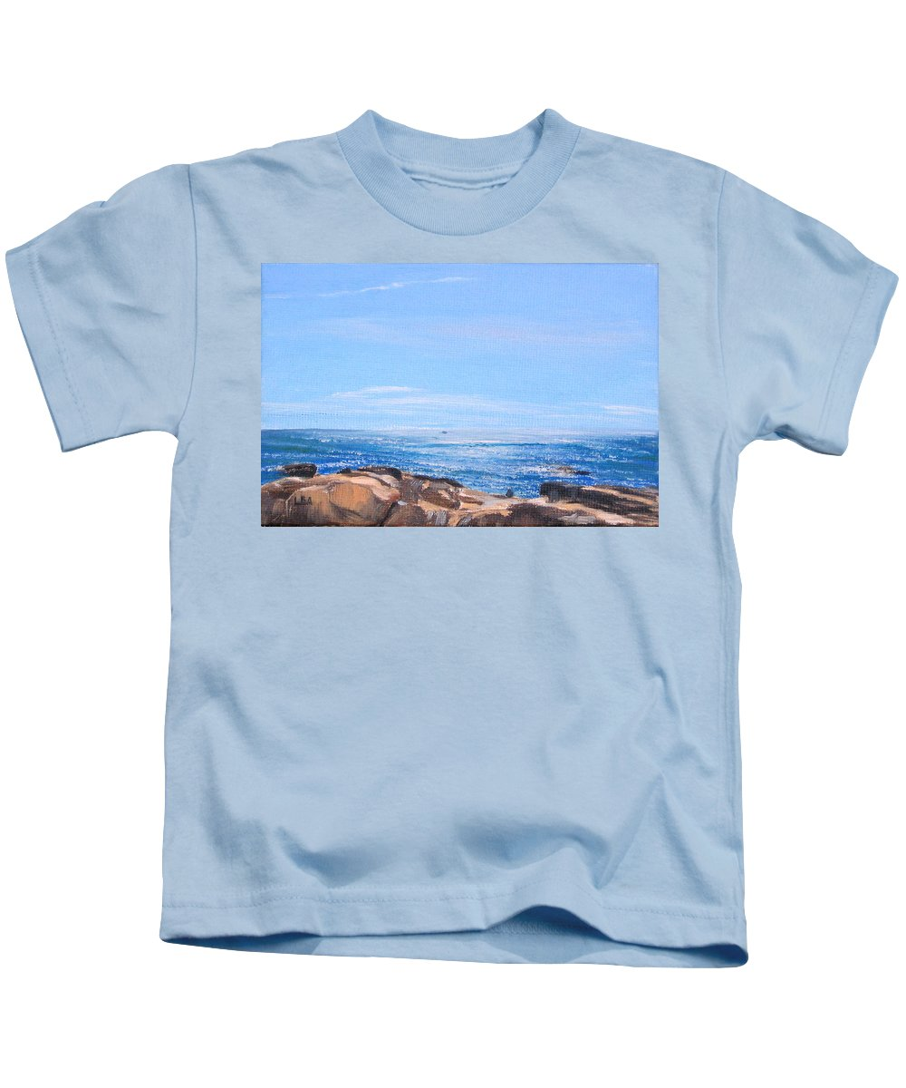 Seascape Kids T-Shirt featuring the painting Dancing Light by Lea Novak