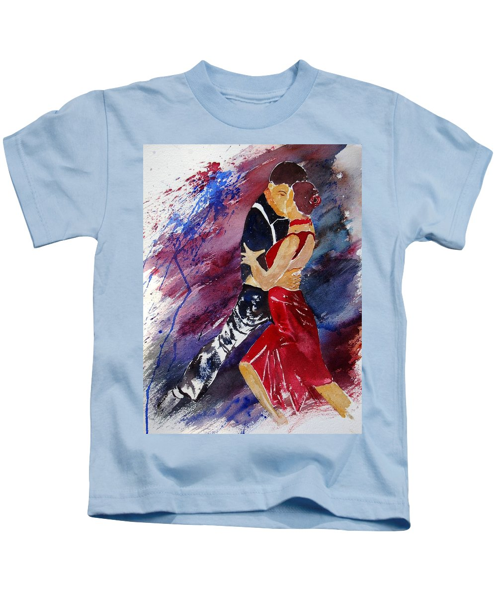 Tango Kids T-Shirt featuring the painting Dancing Tango by Pol Ledent