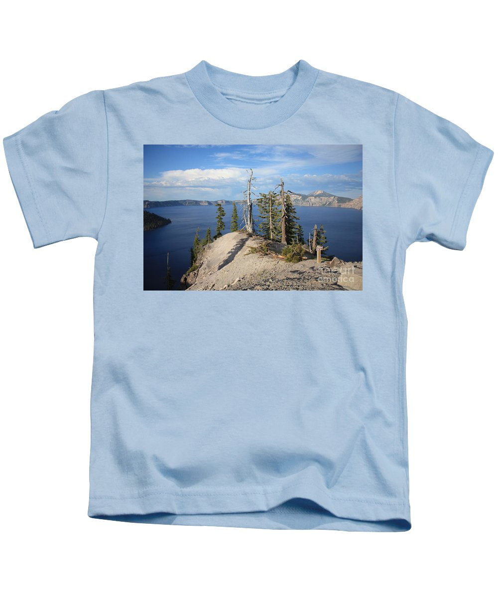 Crater Lake Kids T-Shirt featuring the photograph Dangerous Slope At Crater Lake by Carol Groenen