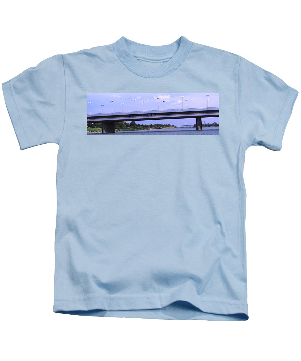 Bridge Kids T-Shirt featuring the photograph Danube River Bridges by Ian MacDonald