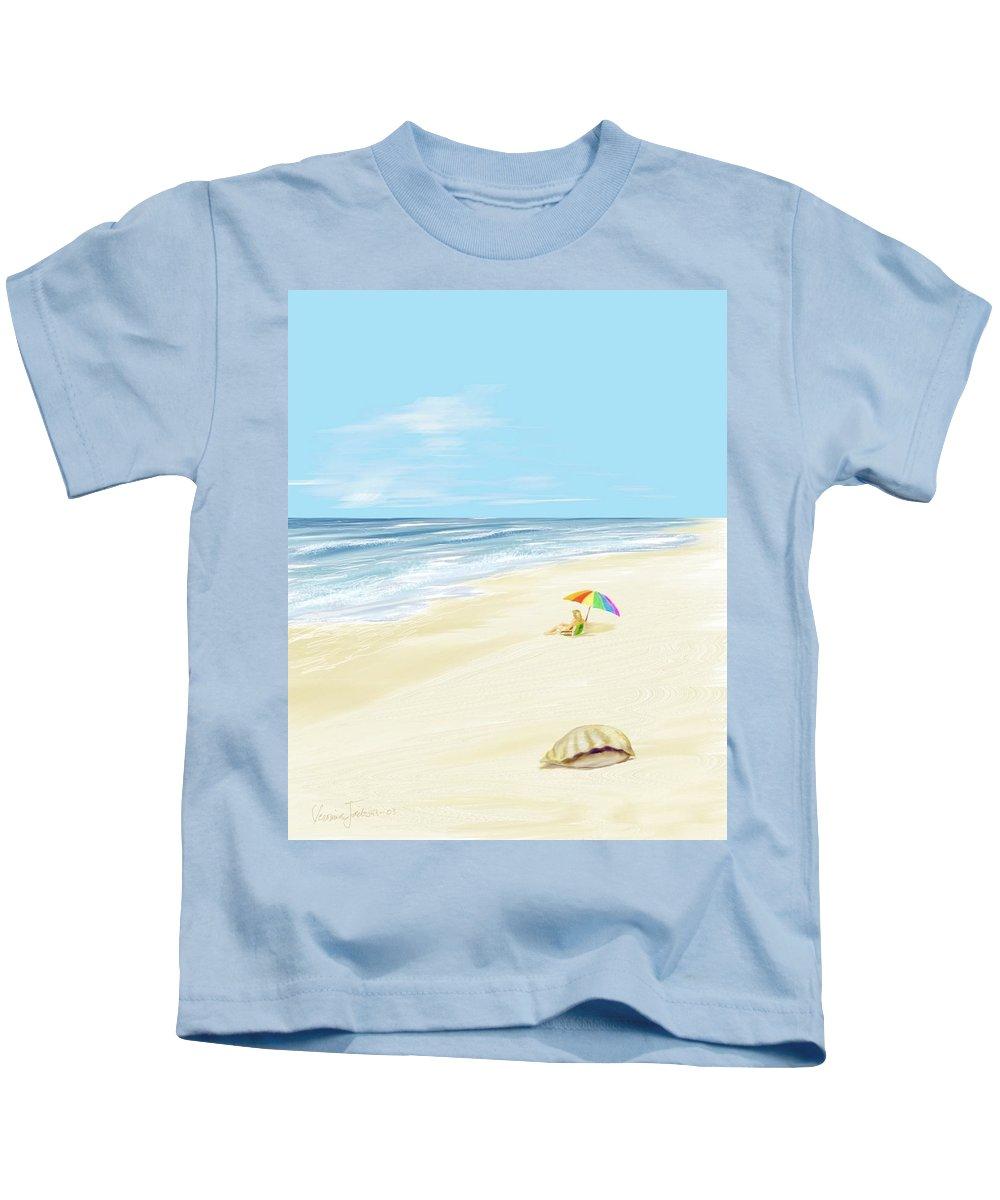 Beach Summer Sun Sand Waves Shells Kids T-Shirt featuring the digital art Day At The Beach by Veronica Jackson