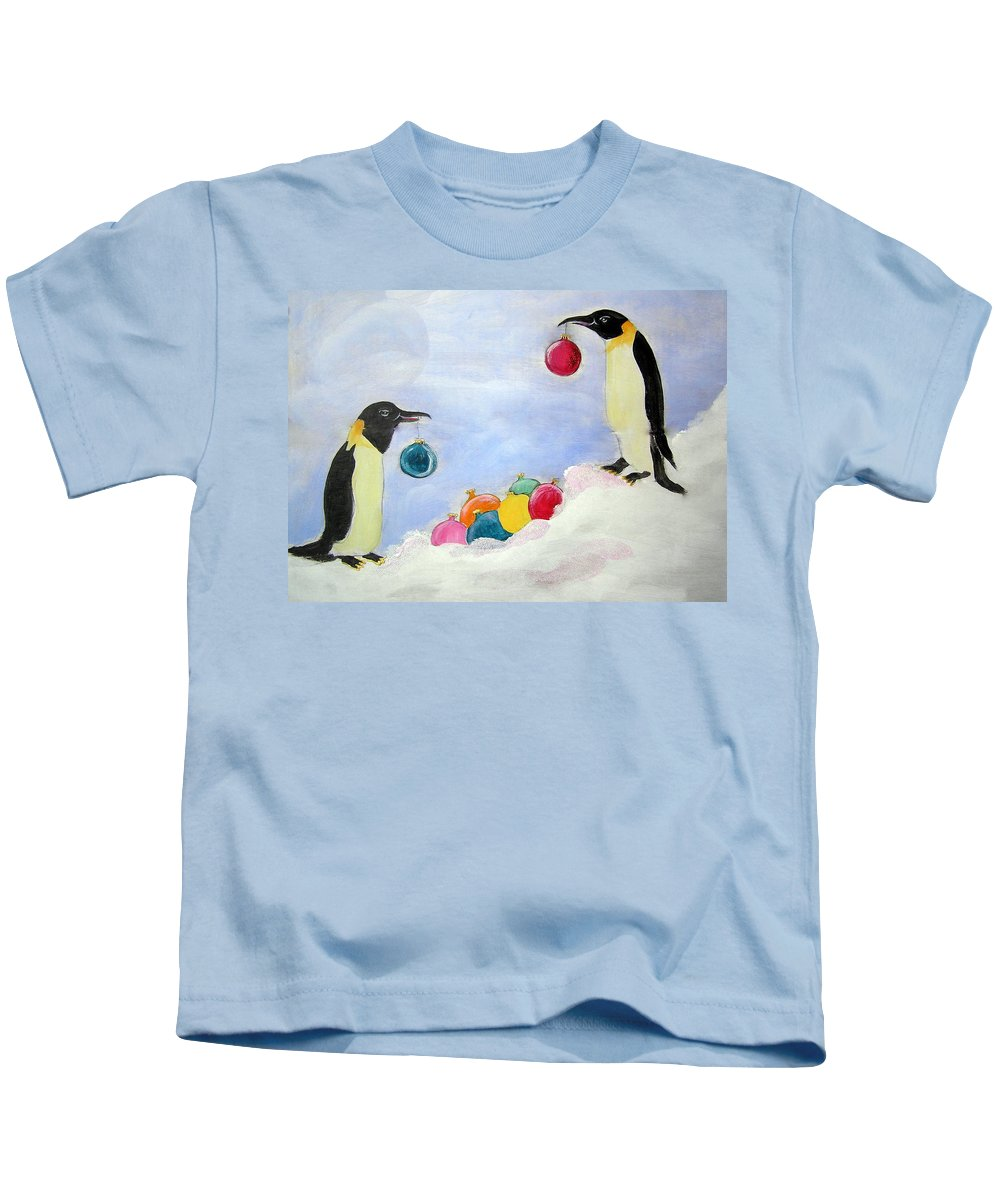 Penguins Kids T-Shirt featuring the painting Christmas Penguins by Patricia Piffath