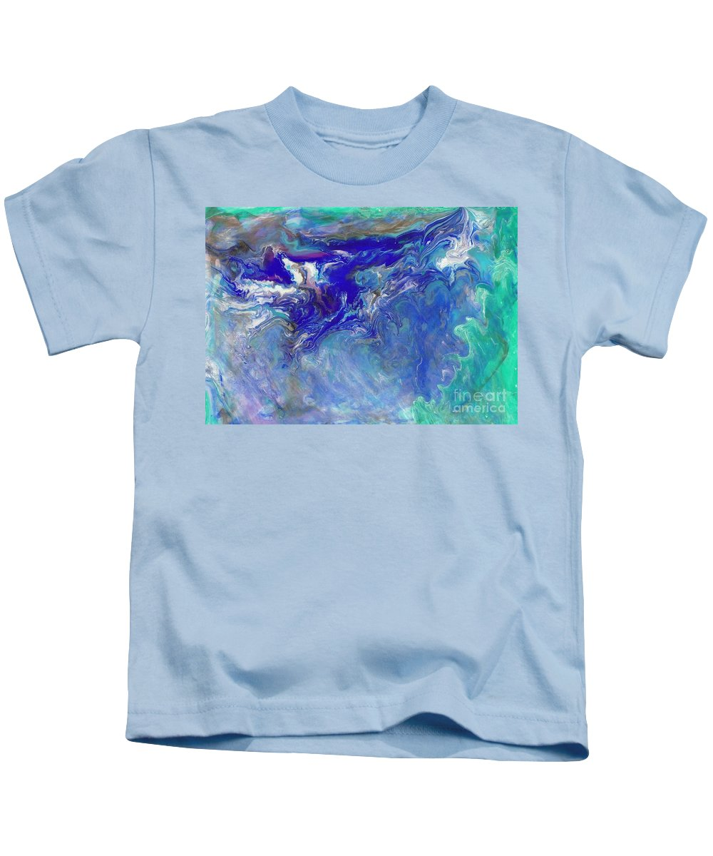 Ocean Abstract Fluid Blue Teal Kids T-Shirt featuring the painting Deep Mystery 4 New Version by Craig Imig