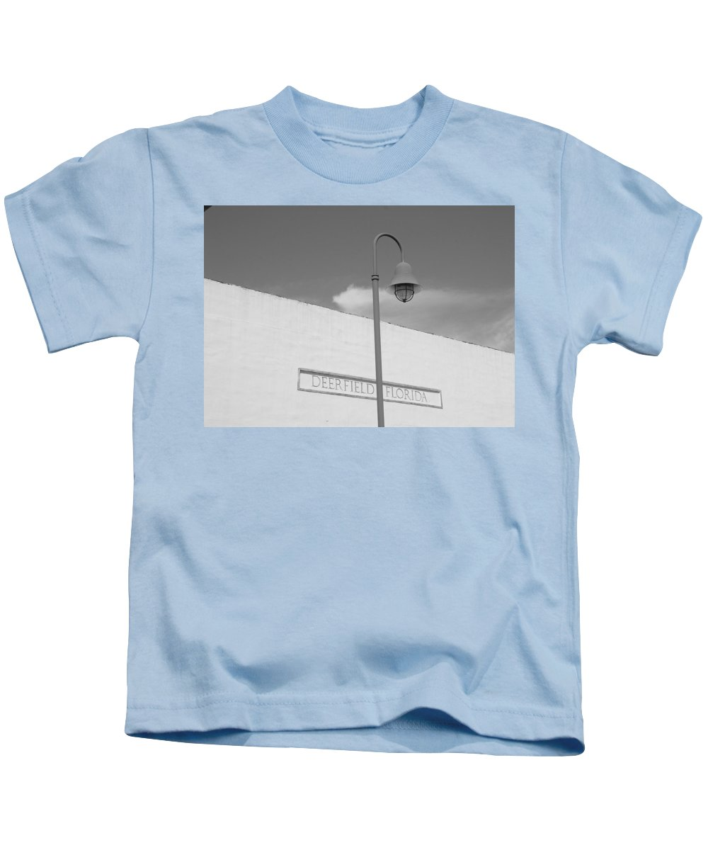 Black And White Kids T-Shirt featuring the photograph Deerfield Florida by Rob Hans
