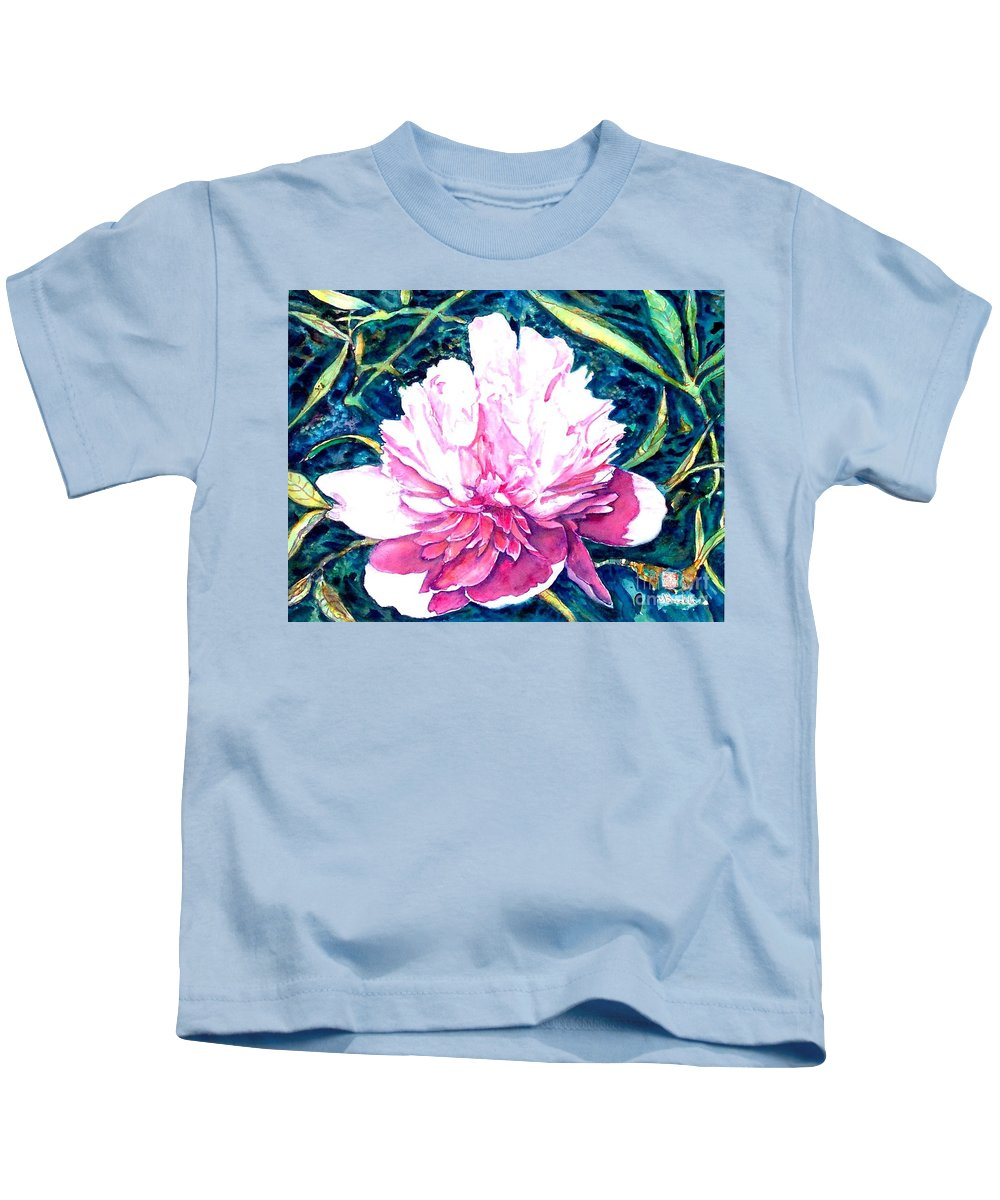 Peony Kids T-Shirt featuring the painting Delightful Peony by Norma Boeckler