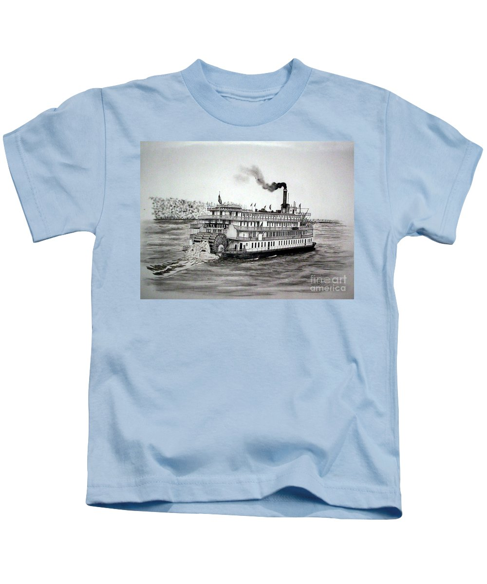 Historic Riverboats Kids T-Shirt featuring the drawing Delta Queen by Richard Hall